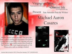 Michael Aaron Casares @ Gemini Ink  Sunday April 19th, 2009 7:30PM